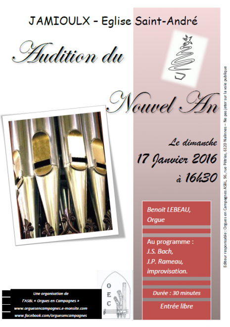 Affiche audition d orgue 17 janvier 2016 jamioulx 1