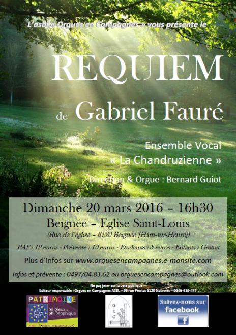 Affiche Requiem Fauré 20-03-2016 Beignée