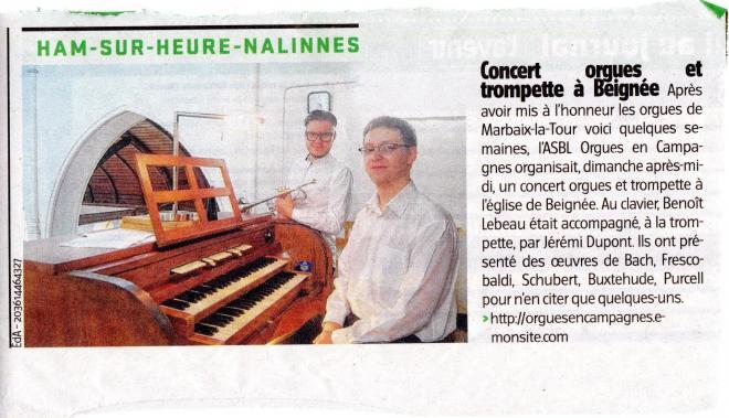 Concert 25 mai 2014 Beignée Orgue et trompette